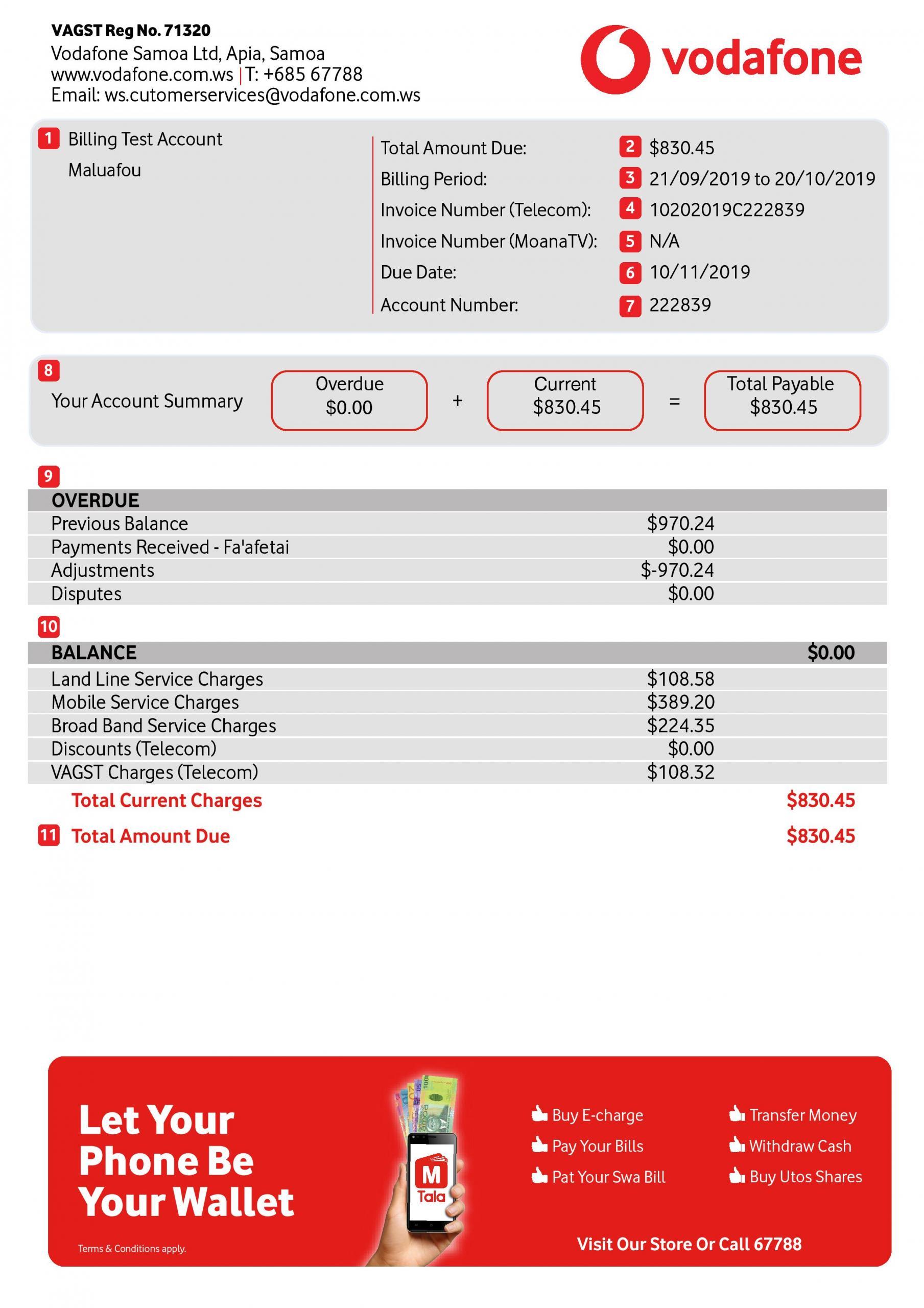 Vodafone Bill Summary